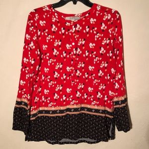 Ann Taylor LOFT Bright Red Floral Printed Blouse